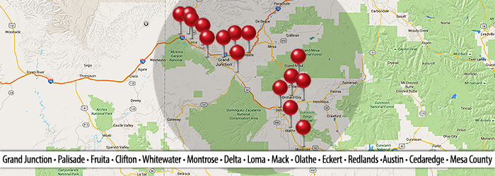 Grand Junction, CO Service areas map